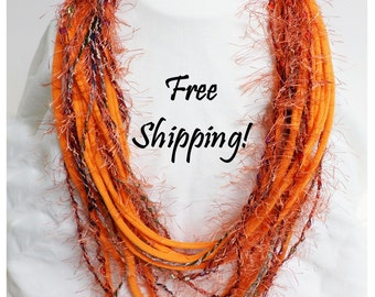 Infinity Scarf Fun Fringe Fiesta Orange and Rust Fringe