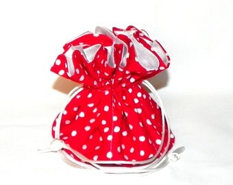 Drawstring Jewelry Pouch - Jewelry organizer -  Red and white polka dots travel bag