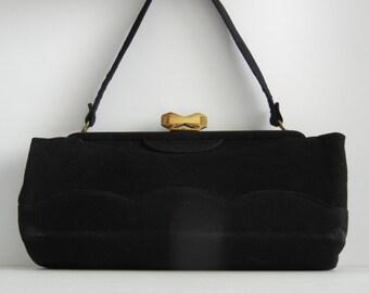 Vintage 1950s Purse, Retro Black Fabric Handbag, 50s Black Purse, Gold & Black Retro Handbag, 1950s Purse, Retro Purse, Rockabilly Purse