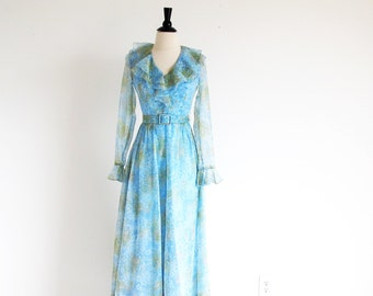 Vintage 60s Blue Gown, Long Sleeve Dress, Long 1960 Sheer Dress, Water Color Dress