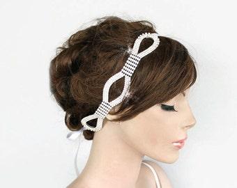 Bridal Headpiece, Rhinestone Headband, Wedding Hair Accessory Crystal Bridal Grecian Headpiece, Handmade