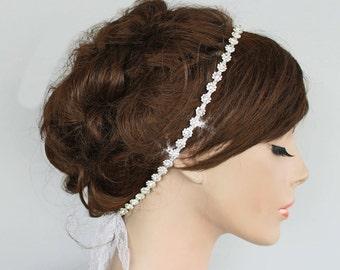 Rhinestone, Lace Ribbon Bridal Headband, White Wedding Rhinestone Strand Head Piece. Handmade