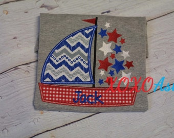 Fourth of July Boys Sailboat Shirt--Independence Day Patriotic-- Embroidered Shirt or Bodysuit