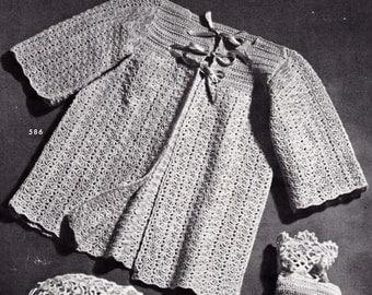 Vintage Knitting Pattern Baby Infant Jacket Coat Instant Download PDF Needlework 1940's WWII Era