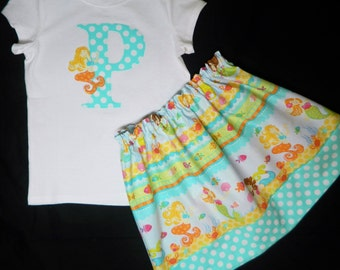 Under the sea toddler, baby shirt with aqua blue number or personalized initial with little mermaid applique and skirt  in sizes NB - 16