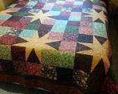 Rustic Woodland Queen Patchwork Quilt, Cabin Rustic Patchwork Queen Blanket, Patchwork Stars Quilt