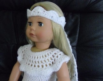 PDF Crochet pattern for wedding dress 18 inch doll, American Girl Doll or Gotz doll