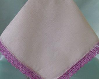 White Linen Handkerchief Ladies Hankies Vintage Hankies Collectible Hankie Lilac Crochet Edge Hanky Accessory Womens Hankies
