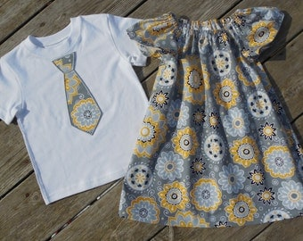 Brother and Sister Matching Outfits - Girl's Gray and Yellow Medallions Peasant Dress with Brother Appliqued Tie Shirt