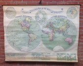 Bacon's Excelsior Map of the World in Hemispheres - Vintage Wall Map
