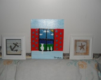 Cats in Window original Acrylic Painting  / 8x10 canvas panel
