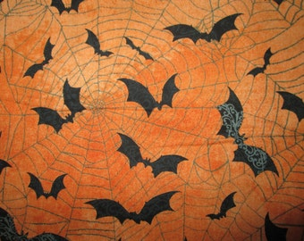 Bats Spider Web Orange Black Cotton Fabric Fat Quarter or Custom Listing