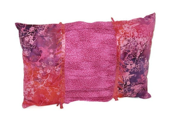 Pink Purple Decorative Pillows : Pink Purple Batik Decorative Pillow Ruched Boho by NorwegianGal333