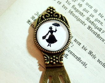 Miss Poppins Silhouette Bookmark - British Nanny Umbrella black and white childhood nostalgia sister mother friend mother daughter cousin