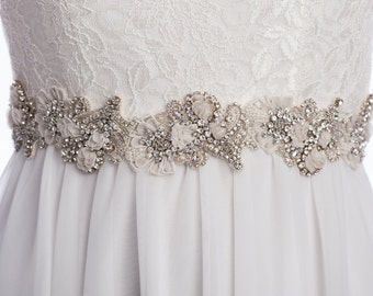 LAURETTE rhinestone sash, wedding  beaded belt,  Bridal sash, wedding dress sash, wedding belt, rhinestone beaded sash