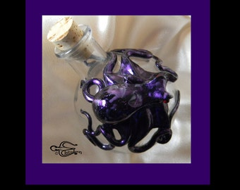 The Byzantine  Sea Fire Kraken, OOAK Kraken Flask, Octopus Sculpture by Elstwhen.