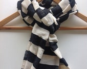 Scarves wraps stole Echarpe-Black & White Nautical Cotton Wool Winter scarves- Men Women Woven Black and white Ethiopian scarf- unisex