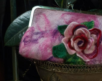 Rose Clutch Needle Felted Purse Bag