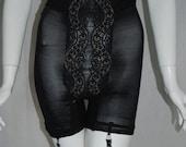1950s Hollywood Vassarette Black Panty Girdle, Medium, four garters