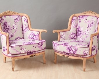 2 x vintage armchairs - lilac rose