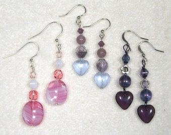 Beaded Earrings purple amethyst pink lilac mauve heart