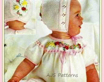 PDF Knitting Pattern for a Baby Girls Dress with Matching Bonnet - Instant Download