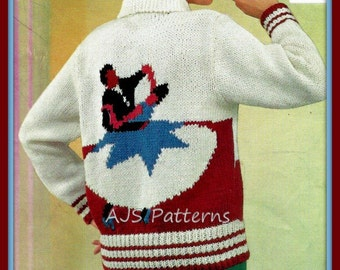 PDF Knitting Pattern For Retro Ballroom Dancers Rockabilly Sweater