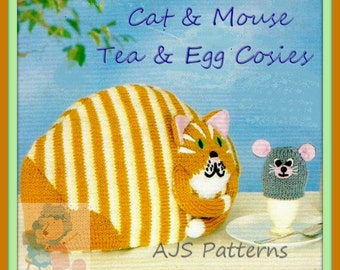 PDF knitting Pattern for Fun Cat and Mouse Tea and Egg Cosy, Cosies, Cozies - Instant Download