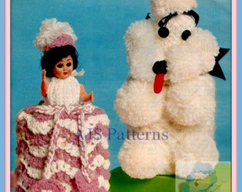 PDF Knitting Pattern - Poodle & Crinoline Lady Toilet Roll Cover Duo. Retro Kitsch - Instant Download
