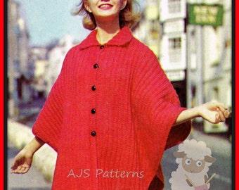 PDF Knitting Pattern - Ladies Retro Aran Cape Coat - Instant Download
