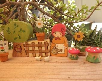 MINI GIRL GNOME Gardener- Wooden Toy Play Set.