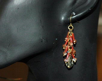 Dangle earring, Drop Orange Earrings, Crystal Briolette, Gift for her, Holiday Gift