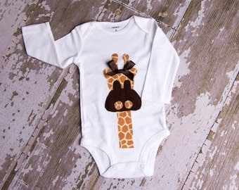 Adorable Giraffe shirt orBodysuit  size 3 month to 6T short or long sleeves boy or girl