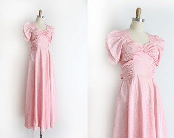 SALE vintage 1940s gown  // 40s pink novelty dress with little bows
