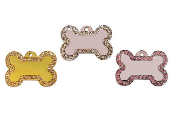Designer Bone Tag with Swarovski Rhinestone Crystal Bling Border - CUSTOM ENGRAVED for Dog, Cat, Pet