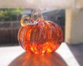 Blown Glass Pumpkin, Holiday Decor, Table Centerpiece, Amber Glow
