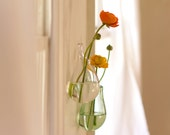 Clear Glass Vase, Hand Blown Glass Art, Clear Hanging Flower Vase