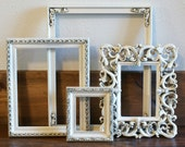 Vintage Cottage White Shabby Cottage Chic Antiqued French Romantic Frame Set With Glass