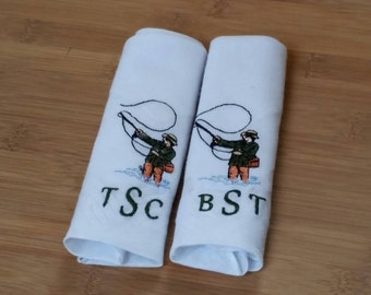 Monogram Embroider Handkerchief, Fishing Themed Wedding, 2