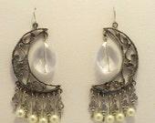 Crystal moon skeleton key and pearl dangle earrings