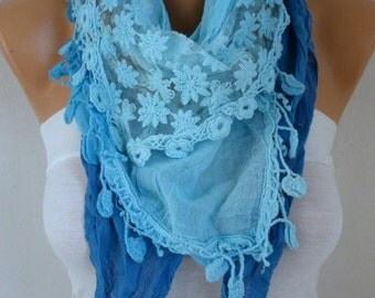 Blue Ombre Cotton Scarf Passover Hanukkah Gift Teacher Gift Oversized Scarf Shawl Cowl Scarf Gift Ideas for Her Women Fashion Accessories