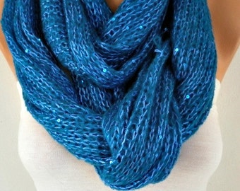 Teal Knitted Scarf Teacher Gift Winter Accessories Sequin Shawl Scarf Cowl Scarf Gift Ideas For Her Women Fashion Accessories Mother Gift