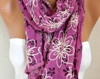 Floral Scarf Teacher  Gift Shawl Cotton Summer Cowl Embroidered Scarf Gift Ideas For Her Women's Fashion Accessories