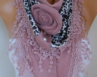 Dusty Pink Knitted Floral Leopard Scarf, Shawl,Fall Winter, Bridesmaid Bridal Accessories Gift Ideas For Her Women Fashion Accessories