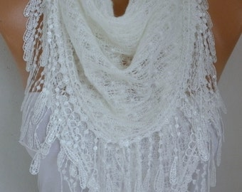 White Knitted Lace Scarf Shawl Cowl Oversized Bridesmaid Gift  Bridal Accessories Gift Ideas For Her Women Fashion Accessories Xmas in july