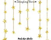 80% OFF SALE Dangling Gold Star Clipart, Gold Foil Clip Art, Commercial Use Wedding Invitation Clipart, Instant Digital Download