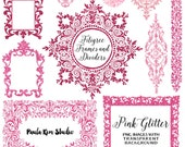 Pink Glitter Flourish Clipart, Digital Frames, Flourish Clip Art, Wedding Invitation Clip Art, Instant Download