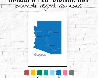 Printable Arizona State Map, Arizona Art, Arizona Map, Arizona Map Art, Arizona Decor, Arizona Home Decor, Arizona Wall Art