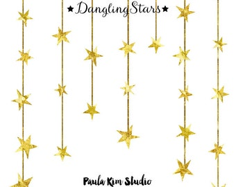 80 % off sale dangling gold star clipart gold foil clip art commercial ...