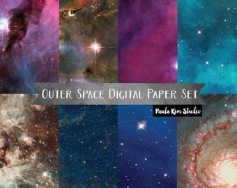 Outer Space Backgrounds Digital Paper, Instant Download, Backgrounds, Outer Space Clipart